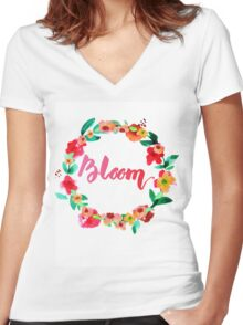 Bloom Watercolor Brush Lettering Flowers Women's Fitted V-Neck T-Shirt