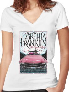 Aretha Franklin. The Queen of Soul Women's Fitted V-Neck T-Shirt