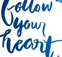 Follow Your Heart Watercolor Brush Lettering Flowers Sticker