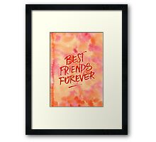 Best Friends Forever Handpainted Abstract Watercolor Pink Orange Framed Print