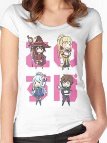 KonoSuba Chibi Characters - Kono Subarashii Sekai ni Shukufuku wo! Women's Fitted Scoop T-Shirt