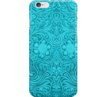 Turquoise Leather Texture Look-Embossed Floral Design iPhone Case/Skin