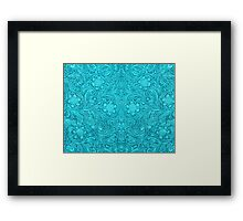 Turquoise Leather Texture Look-Embossed Floral Design Framed Print