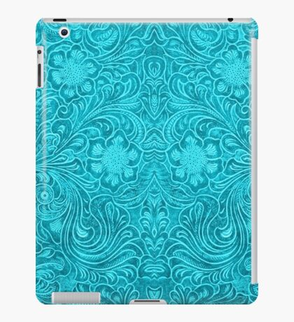 Turquoise Leather Texture Look-Embossed Floral Design iPad Case/Skin
