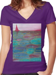 Sunset sea  Women's Fitted V-Neck T-Shirt