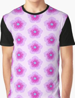 Pink and Blue Flower Graphic T-Shirt