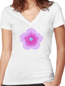 Pink and Blue Flower Women's Fitted V-Neck T-Shirt
