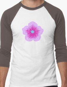 Pink and Blue Flower Men's Baseball ¾ T-Shirt