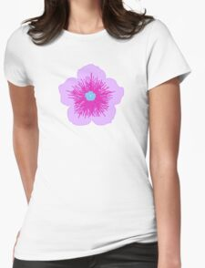 Pink and Blue Flower Womens Fitted T-Shirt