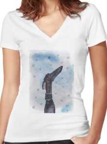 GREYHOUND LOVE g294heart Women's Fitted V-Neck T-Shirt