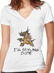I'm Styling Dude - Greymon Women's Fitted V-Neck T-Shirt