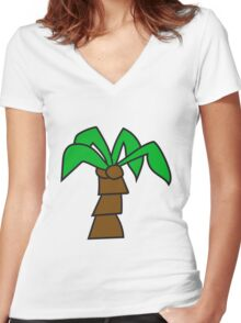 comic cartoon palm small sweet cute coconuts tree Women's Fitted V-Neck T-Shirt