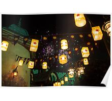 Lanterns and Fireworks Poster