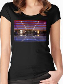 bokeh of city lights in the background Women's Fitted Scoop T-Shirt