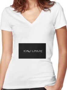 Kali Linux Faded No Dragon Women's Fitted V-Neck T-Shirt