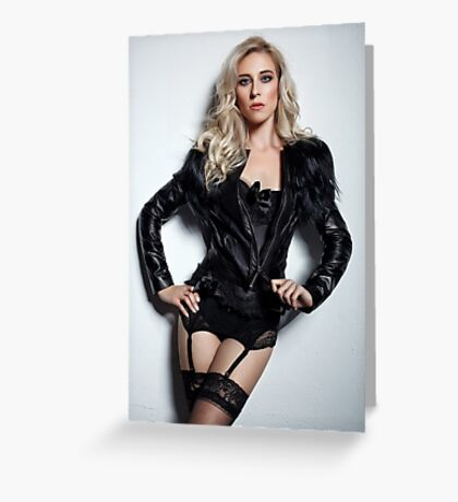 A Blonde In Leather Greeting Card