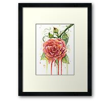 Red Rose Watercolor Dripping Framed Print