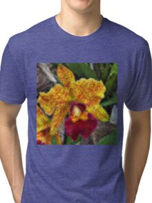 Smeary Painted Orchid Tri-blend T-Shirt