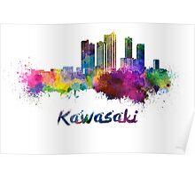 Kawasaki skyline in watercolor Poster