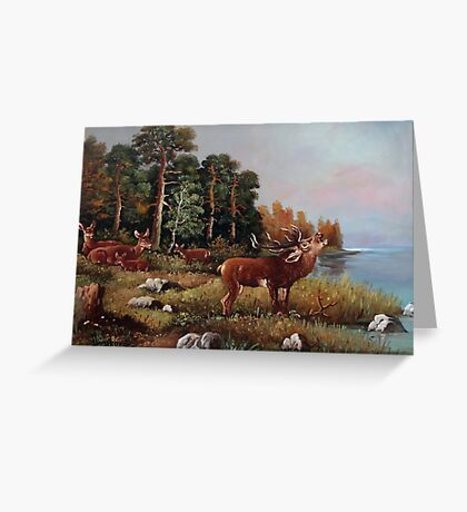 young deer beside a lake Greeting Card