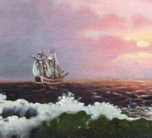 Sunset on open sea Sticker