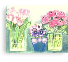 SPRINGTIME FLOWERS - TULIPS - PANSIES - BUTTER CUPS -Colour Pencil and Pastel-Design Canvas Print