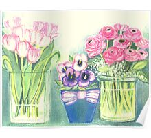SPRINGTIME FLOWERS - TULIPS - PANSIES - BUTTER CUPS -Colour Pencil and Pastel-Design Poster