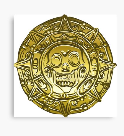 Gold Money pirate coin with a skull Canvas Print