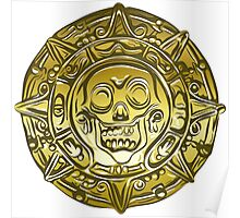 Gold Money pirate coin with a skull Poster
