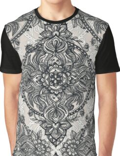 Charcoal Lace Pencil Doodle Graphic T-Shirt