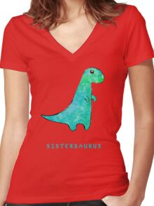 Sistersaurus Women's Fitted V-Neck T-Shirt