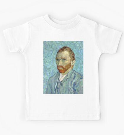 1889-Vincent van Gogh-Self-portrait-54x65 Kids Tee