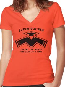 Superteacher Women's Fitted V-Neck T-Shirt