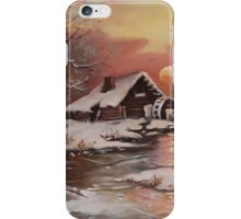 Old mill in the snow iPhone Case/Skin
