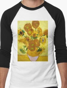1889-Vincent van Gogh-Sunflowers-73x95 Men's Baseball ¾ T-Shirt