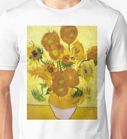1889-Vincent van Gogh-Sunflowers-73x95 Unisex T-Shirt