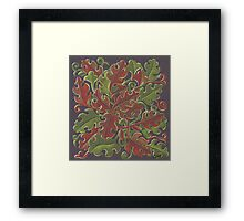 Oak leaves - Tataro pattern Framed Print