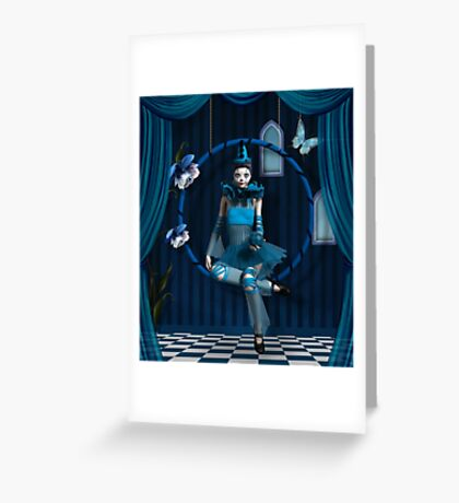 Blue clown in a surreal scenery Greeting Card