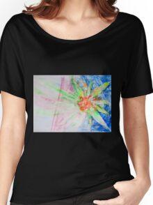 Flower of Sun, Sun of Flower - Original Wall Modern Abstract Art Painting Original mixed media Women's Relaxed Fit T-Shirt
