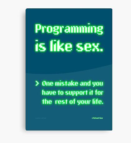Programming is like Sex Canvas Print