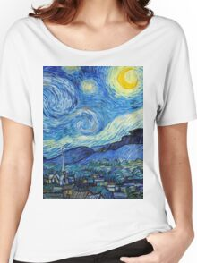 1889-Vincent van Gogh-The Starry Night-73x92 Women's Relaxed Fit T-Shirt