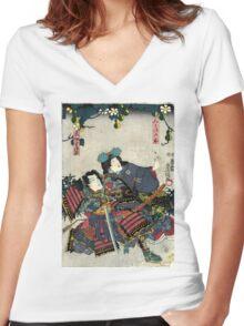 Kunisada Utagawa - Miaso Gozen - Circa 1860 - Woodcut Women's Fitted V-Neck T-Shirt