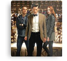 Doctor Who with Daleks Metal Print