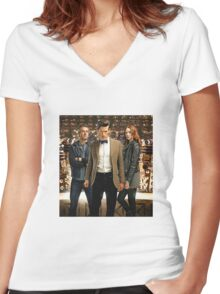 Doctor Who with Daleks Women's Fitted V-Neck T-Shirt