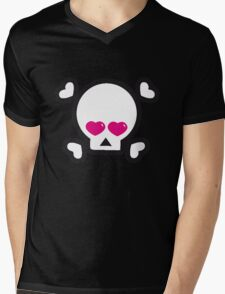 skull heart British @ Heart Heart Pirates My Heart Will Go on  Mens V-Neck T-Shirt