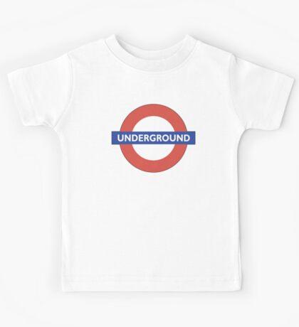 TUBE, UNDERGROUND, LONDON, ENGLAND, BRITISH, on BLACK Kids Tee