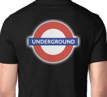 TUBE, UNDERGROUND, LONDON, ENGLAND, BRITISH, on BLACK Unisex T-Shirt