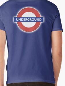 TUBE, UNDERGROUND, LONDON, ENGLAND, BRITISH, on BLACK Mens V-Neck T-Shirt