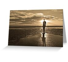 Crosby Beach Iron Man Sunset Sepia Toned Greeting Card