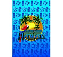 Hawaii Sunset Blue Tiki Photographic Print